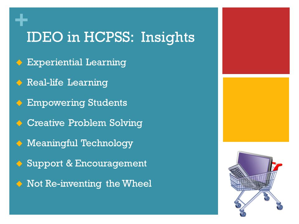 + IDEO in HCPSS: Insights Experiential Learning Real-life Learning Empowering Students Creative Problem Solving Meaningful Technology Support & Encouragement Not Re-inventing the Wheel