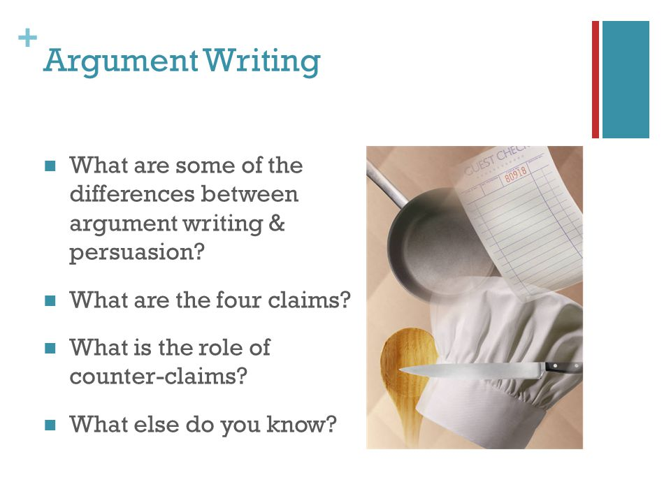 + Argument Writing What are some of the differences between argument writing & persuasion? What are the four claims? What is the role of counter-claim