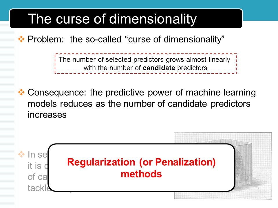 The curse of dimensionality Problem: the so-called curse of dimensionality Consequence: the predictive power of machine learning models reduces as the number of candidate predictors increases In semiconductor manufacturing, it is common to have hundreds of candidate predictors: how to tackle the problem.