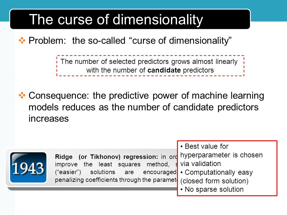 The curse of dimensionality Problem: the so-called curse of dimensionality Consequence: the predictive power of machine learning models reduces as the number of candidate predictors increases The number of selected predictors grows almost linearly with the number of candidate predictors 19431943 Ridge (or Tikhonov) regression: in order to improve the least squares method, stable (easier) solutions are encouraged by penalizing coefficients through the parameter a Best value for hyperparameter is chosen via validation Computationally easy (closed form solution) No sparse solution