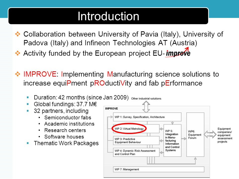 Introduction Collaboration between University of Pavia (Italy), University of Padova (Italy) and Infineon Technologies AT (Austria) Activity funded by the European project EU- IMPROVE: Implementing Manufacturing science solutions to increase equiPment pROductiVity and fab pErformance Duration: 42 months (since Jan 2009) Global fundings: 37.7 M 32 partners, including Semiconductor fabs Academic institutions Research centers Software houses Thematic Work Packages