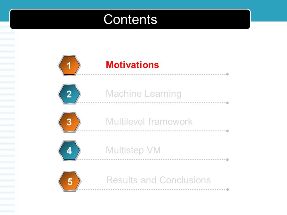 Motivations 1 Machine Learning 2 Multilevel framework 3 Multistep VM 4 5 5 Contents Results and Conclusions