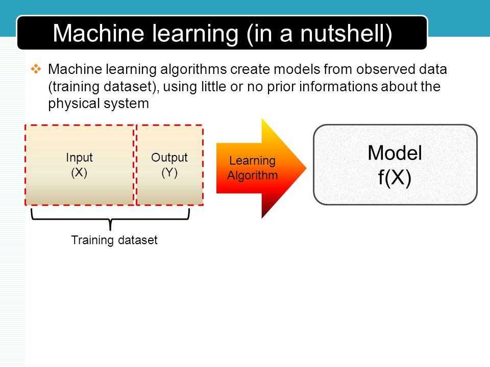 Machine learning (in a nutshell) Machine learning algorithms create models from observed data (training dataset), using little or no prior informations about the physical system Input (X) Output (Y) Model f(X) Learning Algorithm Training dataset