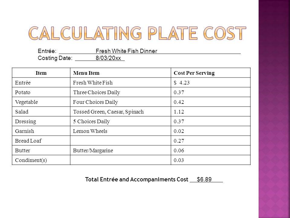 Entrée: Fresh White Fish Dinner Costing Date: 8/03/20xx ItemMenu ItemCost Per Serving EntréeFresh White Fish$ 4.23 PotatoThree Choices Daily0.37 Veget