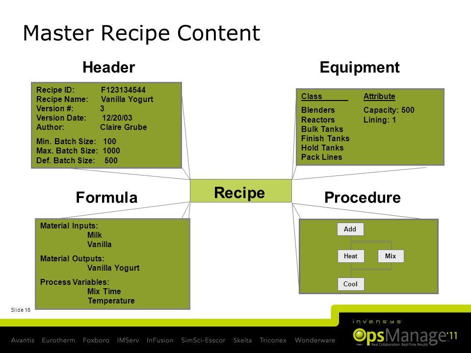 Slide 16 Recipe Header Recipe ID: F123134544 Recipe Name: Vanilla Yogurt Version #: 3 Version Date: 12/20/03 Author: Claire Grube Min. Batch Size: 100