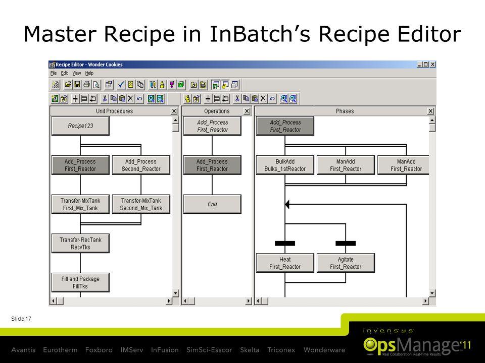 Slide 17 Master Recipe in InBatchs Recipe Editor