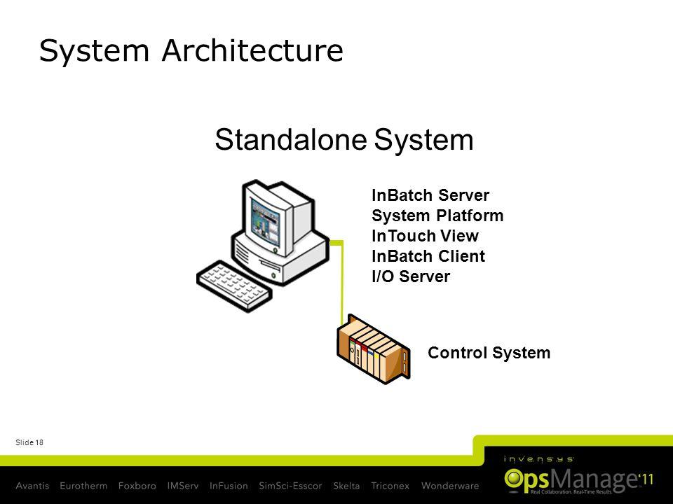 Slide 18 Standalone System InBatch Server System Platform InTouch View InBatch Client I/O Server Control System FS System Architecture