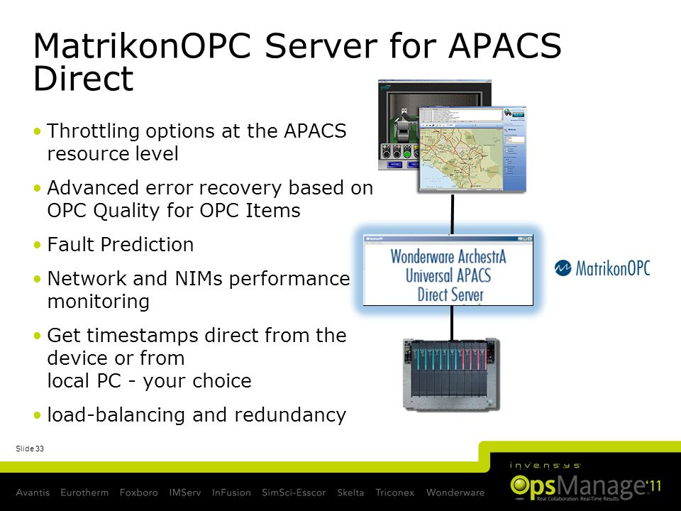 Slide 33 MatrikonOPC Server for APACS Direct Throttling options at the APACS resource level Advanced error recovery based on OPC Quality for OPC Items