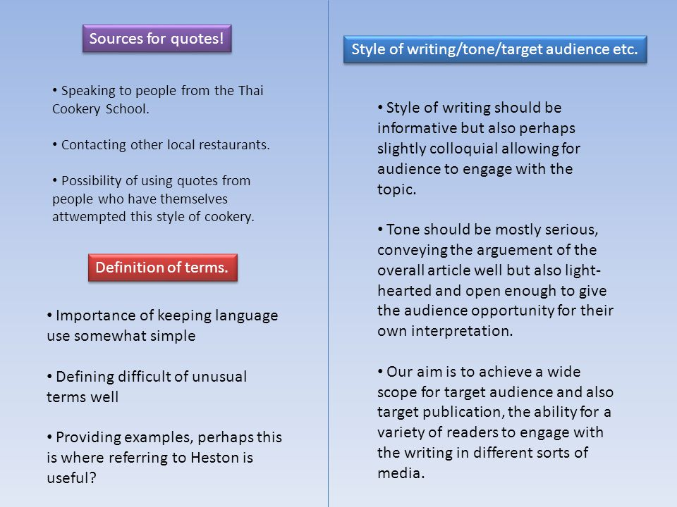 Sources for quotes. Definition of terms. Speaking to people from the Thai Cookery School.