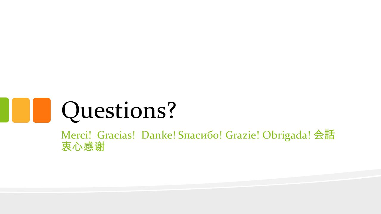Questions Merci! Gracias! Danke! Sпасибо! Grazie! Obrigada!