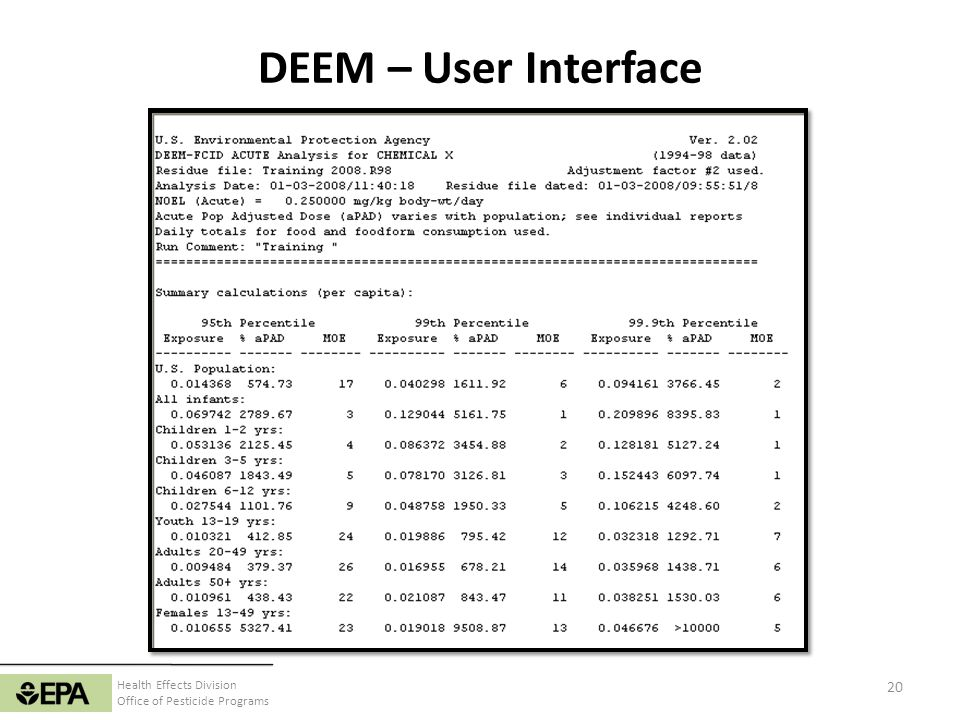 Health Effects Division Office of Pesticide Programs DEEM – User Interface 20