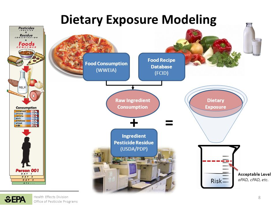Health Effects Division Office of Pesticide Programs Dietary Exposure Modeling Food Consumption (WWEIA) Food Recipe Database (FCID) Raw Ingredient Con