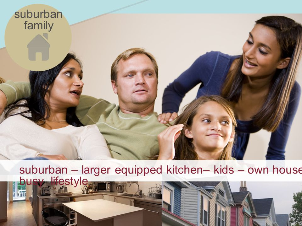 suburban – larger equipped kitchen– kids – own house – busy lifestyle suburban family