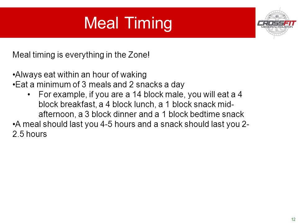 12 Meal Timing Meal timing is everything in the Zone.