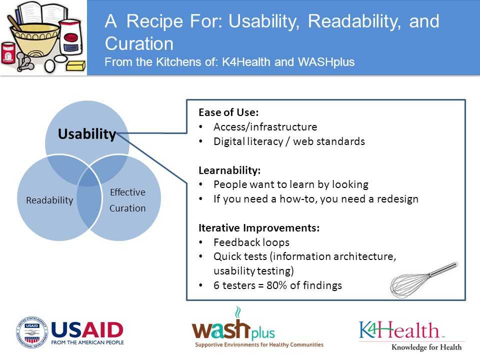 A Recipe For: Usability, Readability, and Curation From the Kitchens of: K4Health and WASHplus Usability Effective Curation Readability Ease of Use: A