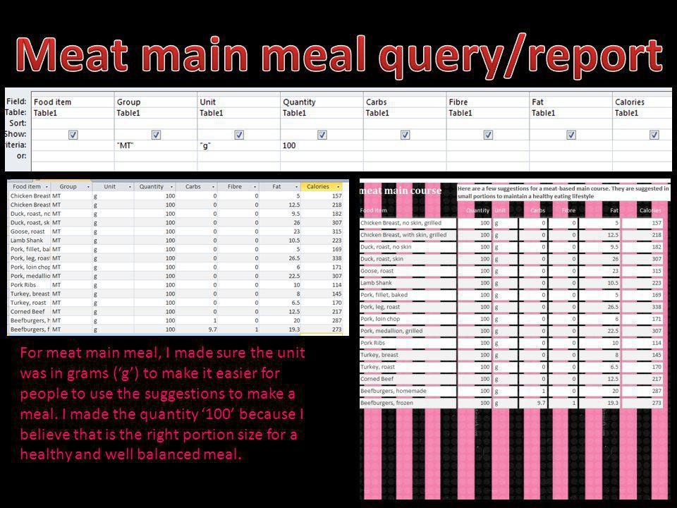 For meat main meal, I made sure the unit was in grams (g) to make it easier for people to use the suggestions to make a meal. I made the quantity 100