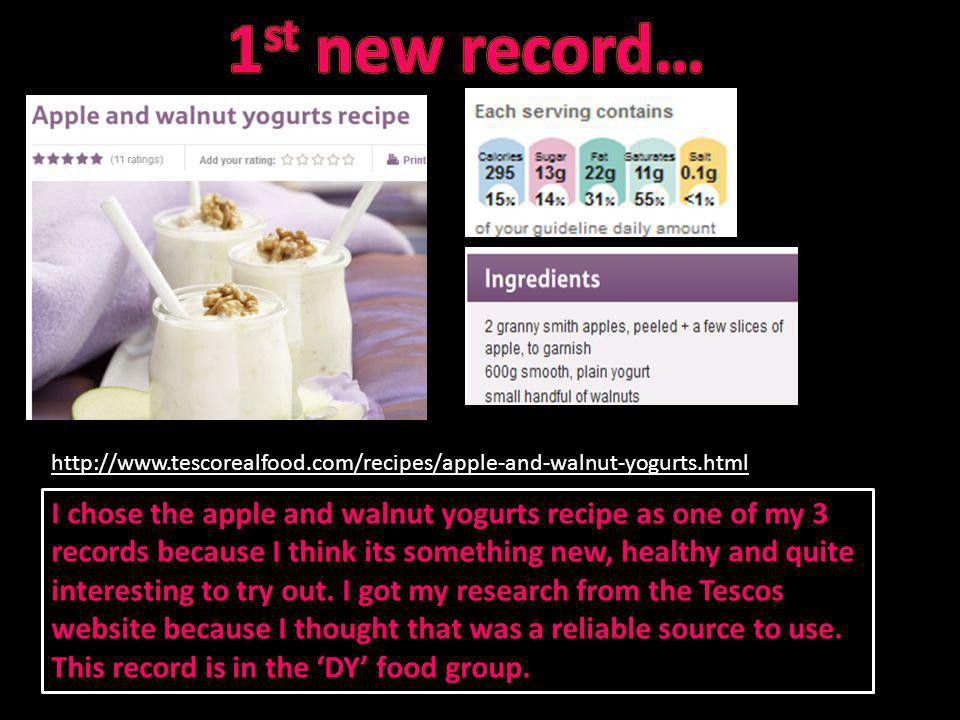 I chose the apple and walnut yogurts recipe as one of my 3 records because I think its something new, healthy and quite interesting to try out. I got