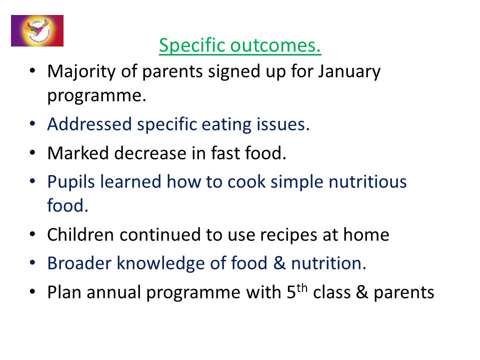 Specific outcomes. Majority of parents signed up for January programme. Addressed specific eating issues. Marked decrease in fast food. Pupils learned