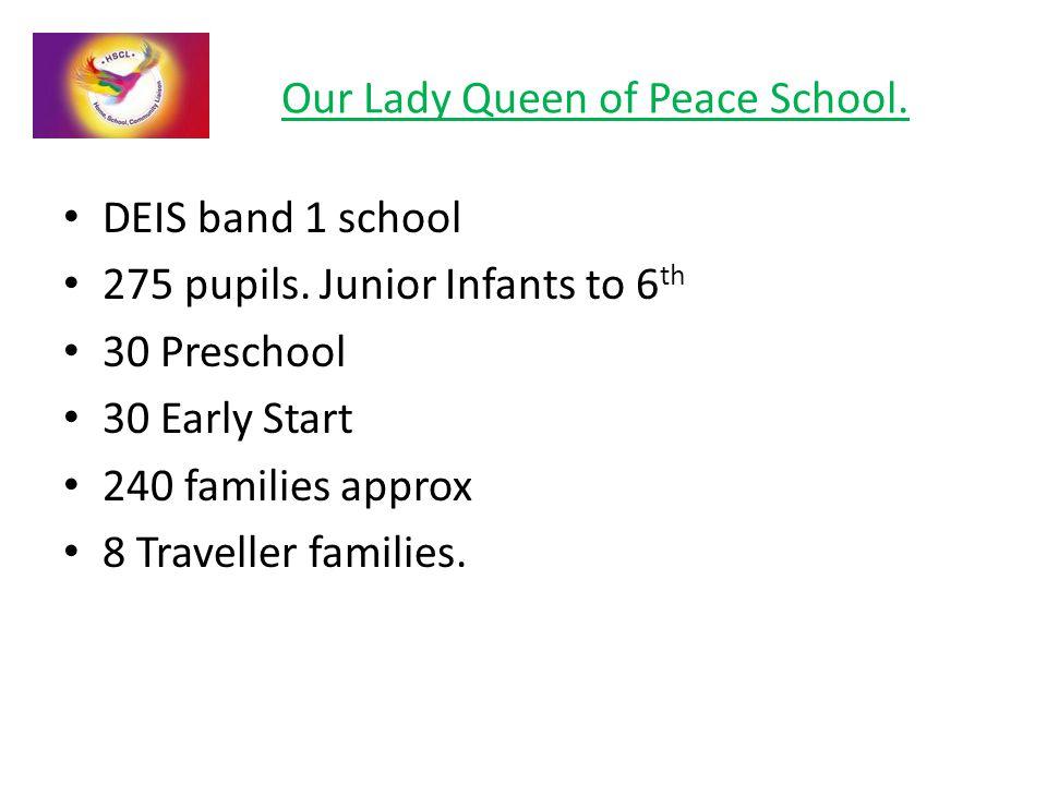 Our Lady Queen of Peace School. DEIS band 1 school 275 pupils.