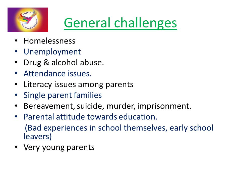 General challenges Homelessness Unemployment Drug & alcohol abuse. Attendance issues. Literacy issues among parents Single parent families Bereavement