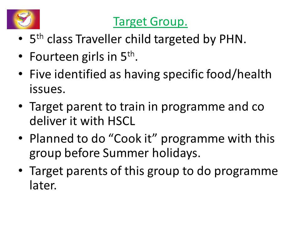Target Group. 5 th class Traveller child targeted by PHN. Fourteen girls in 5 th. Five identified as having specific food/health issues. Target parent