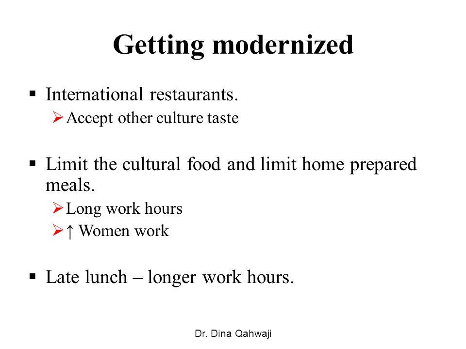 Getting modernized International restaurants.