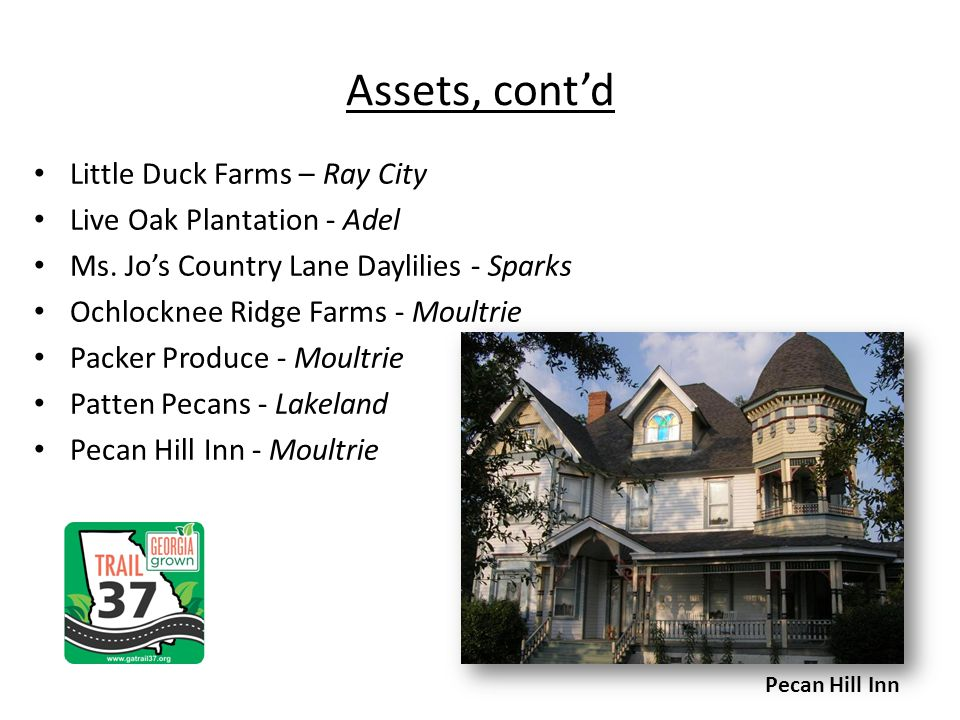 Assets, contd Little Duck Farms – Ray City Live Oak Plantation - Adel Ms. Jos Country Lane Daylilies - Sparks Ochlocknee Ridge Farms - Moultrie Packer