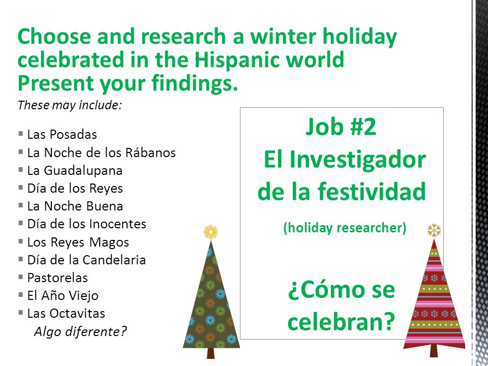 Choose and research a winter holiday celebrated in the Hispanic world Present your findings. These may include: Las Posadas La Noche de los Rábanos La