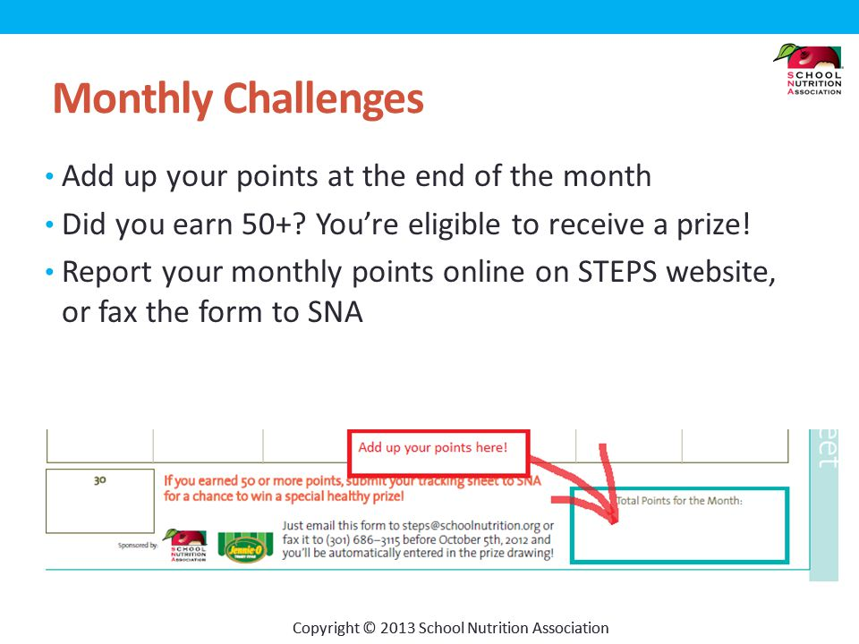 Copyright © 2013 School Nutrition Association Monthly Challenges Add up your points at the end of the month Did you earn 50+.