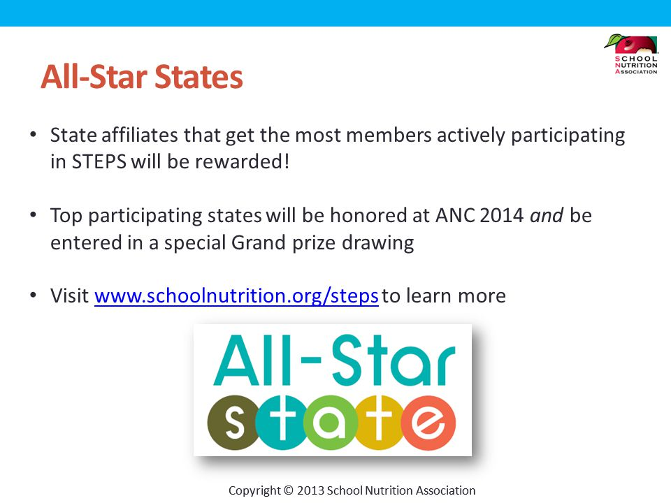 Copyright © 2013 School Nutrition Association All-Star States State affiliates that get the most members actively participating in STEPS will be rewarded.