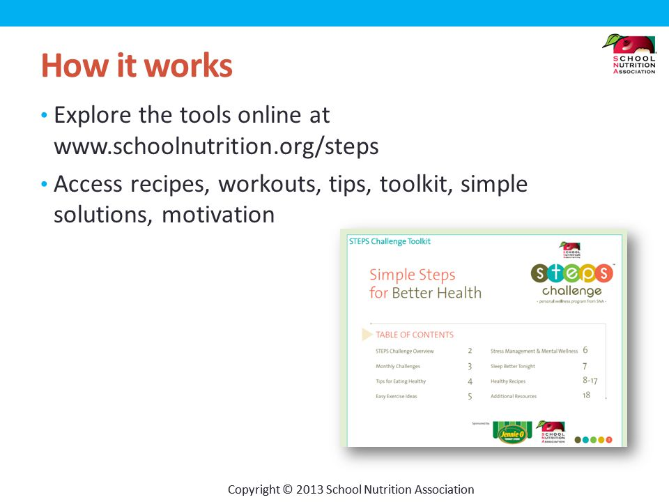 Copyright © 2013 School Nutrition Association How it works Explore the tools online at www.schoolnutrition.org/steps Access recipes, workouts, tips, toolkit, simple solutions, motivation