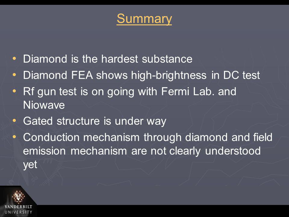 Summary Diamond is the hardest substance Diamond FEA shows high-brightness in DC test Rf gun test is on going with Fermi Lab. and Niowave Gated struct