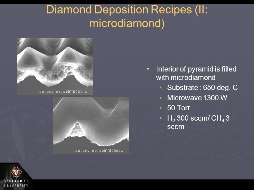 Diamond Deposition Recipes (II: microdiamond) Interior of pyramid is filled with microdiamond Substrate : 650 deg. C Microwave 1300 W 50 Torr H 2 300