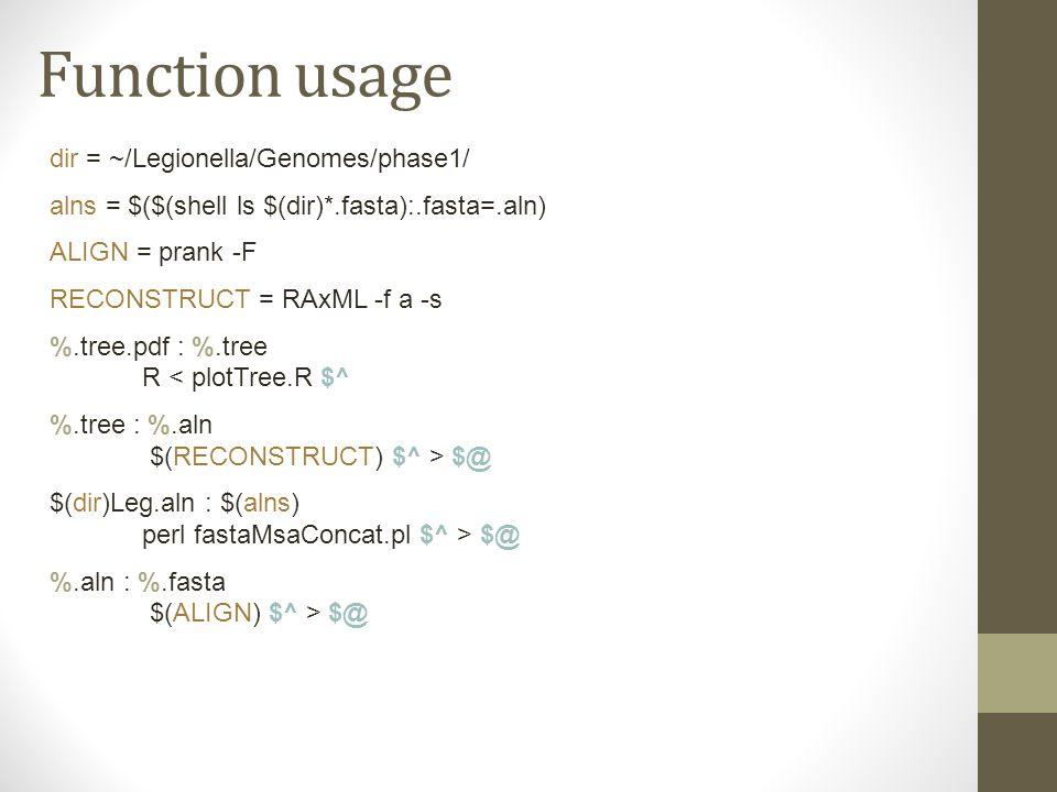 Function usage dir = ~/Legionella/Genomes/phase1/ alns = $($(shell ls $(dir)*.fasta):.fasta=.aln) ALIGN = prank -F RECONSTRUCT = RAxML -f a -s %.tree.pdf : %.tree R < plotTree.R $^ %.tree : %.aln $(RECONSTRUCT) $^ > $@ $(dir)Leg.aln : $(alns) perl fastaMsaConcat.pl $^ > $@ %.aln : %.fasta $(ALIGN) $^ > $@