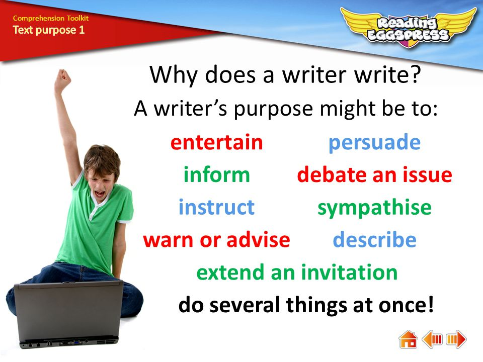 Comprehension Toolkit Why does a writer write.