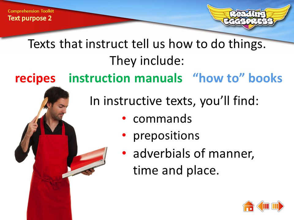 Comprehension Toolkit Texts that instruct tell us how to do things.