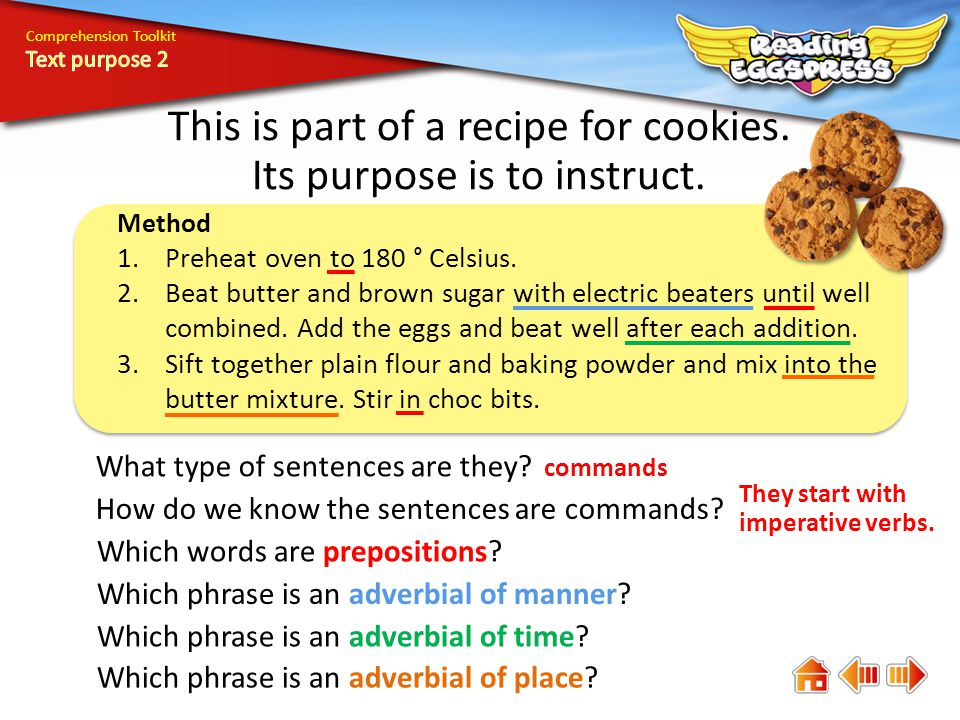 Comprehension Toolkit This is part of a recipe for cookies.