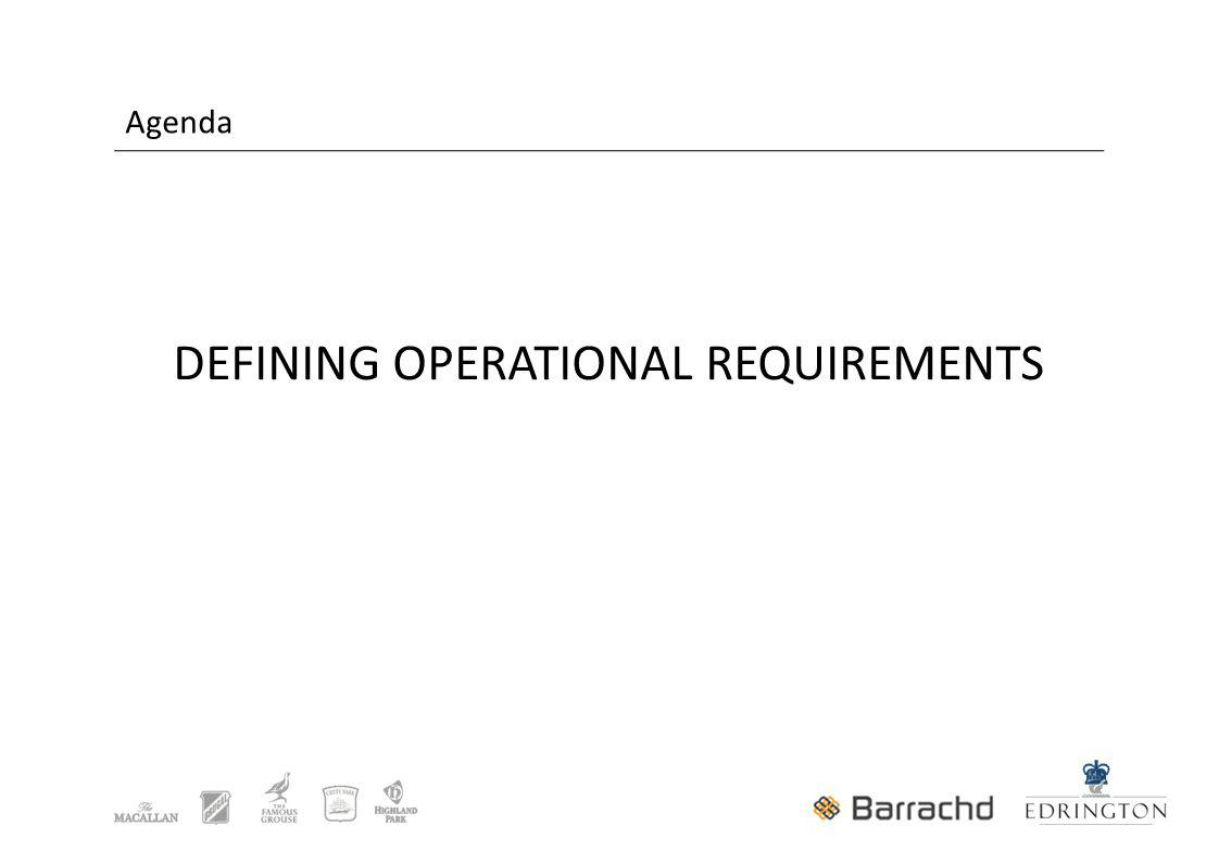 Agenda DEFINING OPERATIONAL REQUIREMENTS
