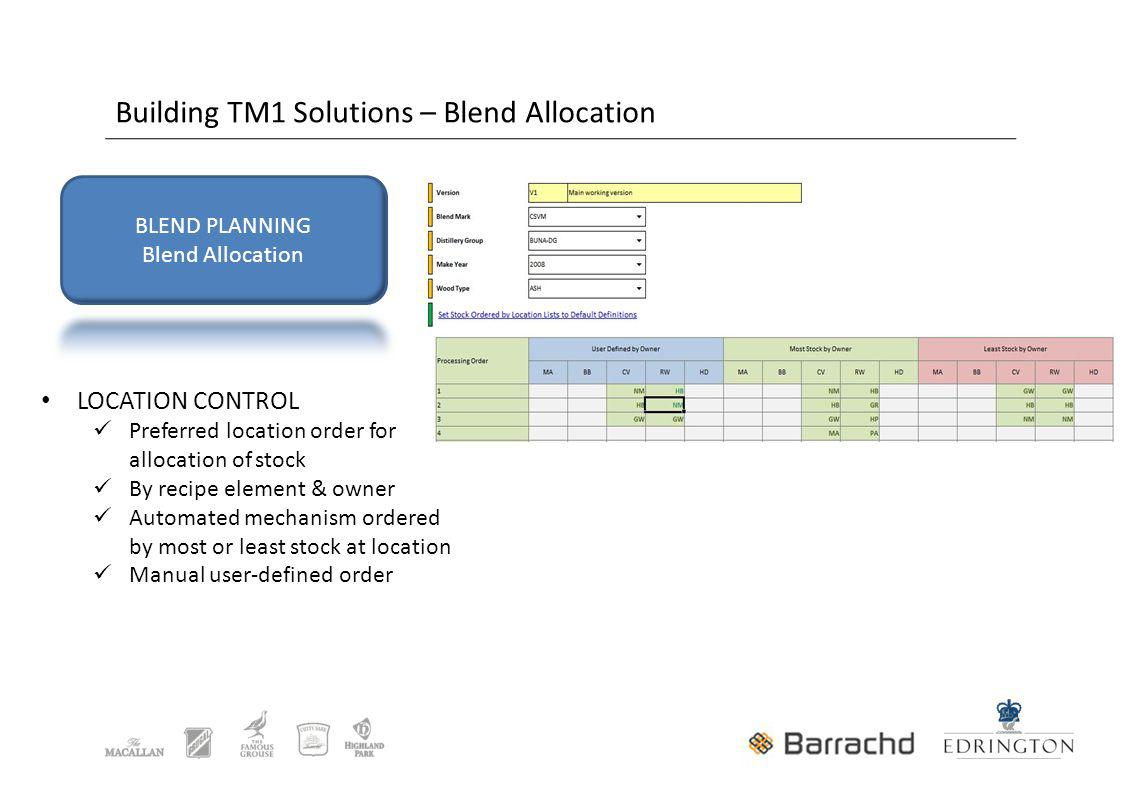 Building TM1 Solutions – Blend Allocation LOCATION CONTROL Preferred location order for allocation of stock By recipe element & owner Automated mechanism ordered by most or least stock at location Manual user-defined order