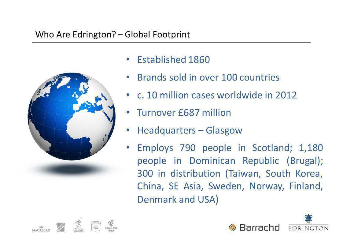 Who Are Edrington. – Global Footprint Established 1860 Brands sold in over 100 countries c.