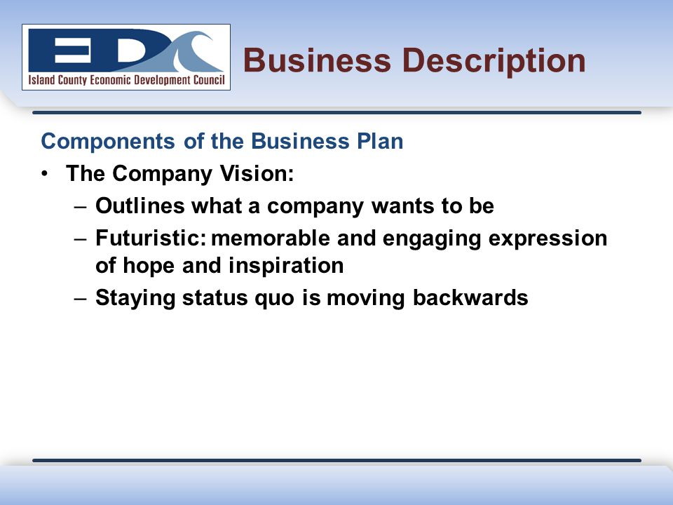 Business Description Components of the Business Plan The Company Vision: –Outlines what a company wants to be –Futuristic: memorable and engaging expr