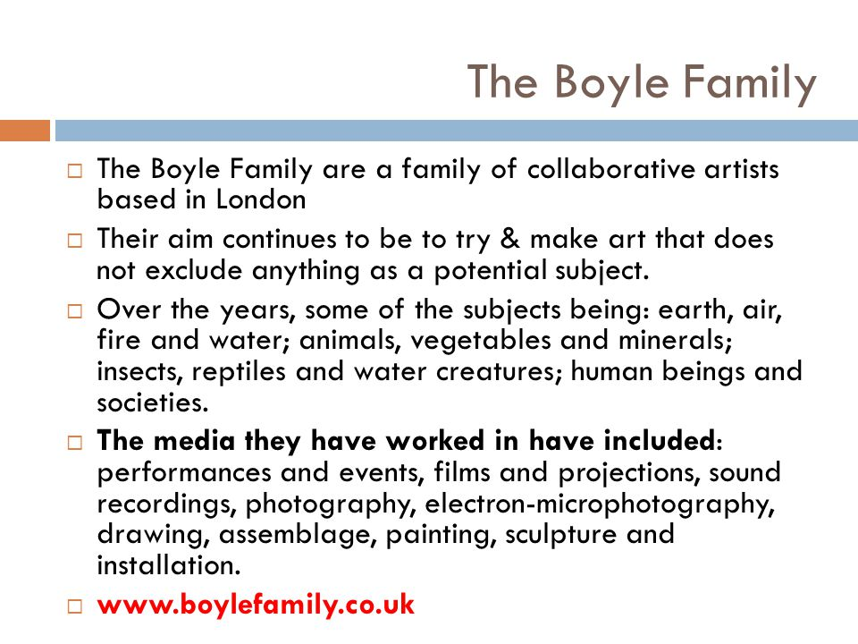 The Boyle Family The Boyle Family are a family of collaborative artists based in London Their aim continues to be to try & make art that does not excl