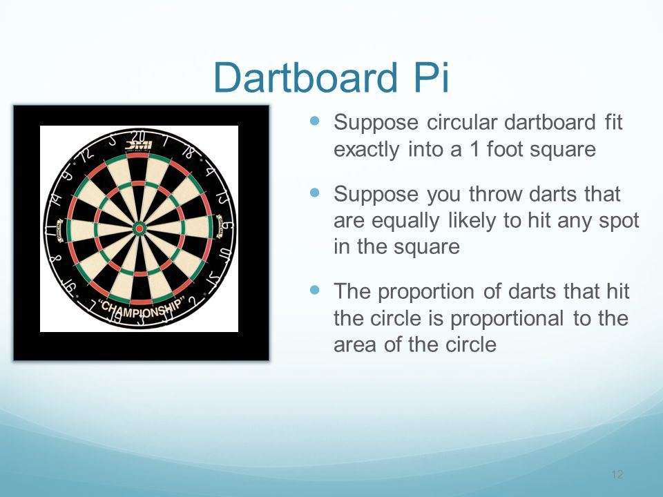 Dartboard Pi Suppose circular dartboard fit exactly into a 1 foot square Suppose you throw darts that are equally likely to hit any spot in the square The proportion of darts that hit the circle is proportional to the area of the circle 12