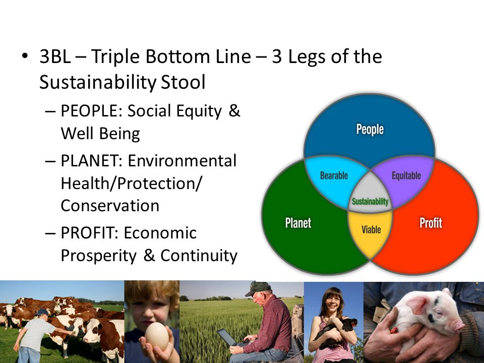 3BL – Triple Bottom Line – 3 Legs of the Sustainability Stool – PEOPLE: Social Equity & Well Being – PLANET: Environmental Health/Protection/ Conservation – PROFIT: Economic Prosperity & Continuity