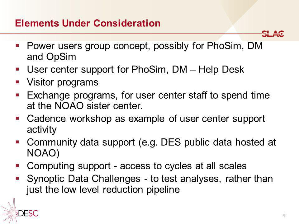 4 Elements Under Consideration Power users group concept, possibly for PhoSim, DM and OpSim User center support for PhoSim, DM – Help Desk Visitor pro