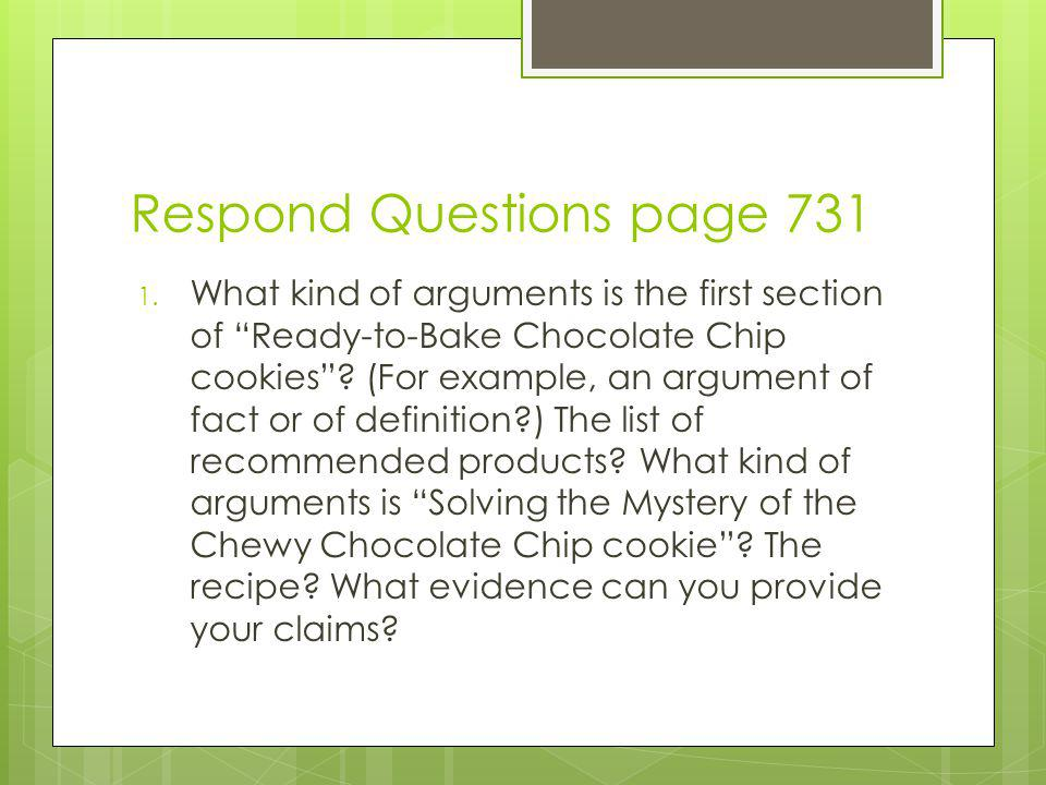 Respond Questions page 731 1.