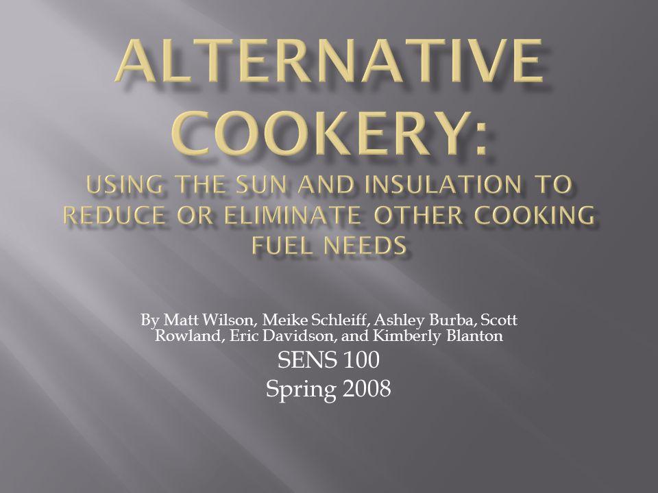 By Matt Wilson, Meike Schleiff, Ashley Burba, Scott Rowland, Eric Davidson, and Kimberly Blanton SENS 100 Spring 2008
