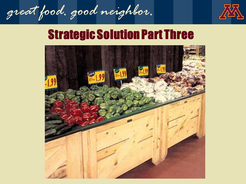 Strategic Solution Part Three great food. good neighbor.