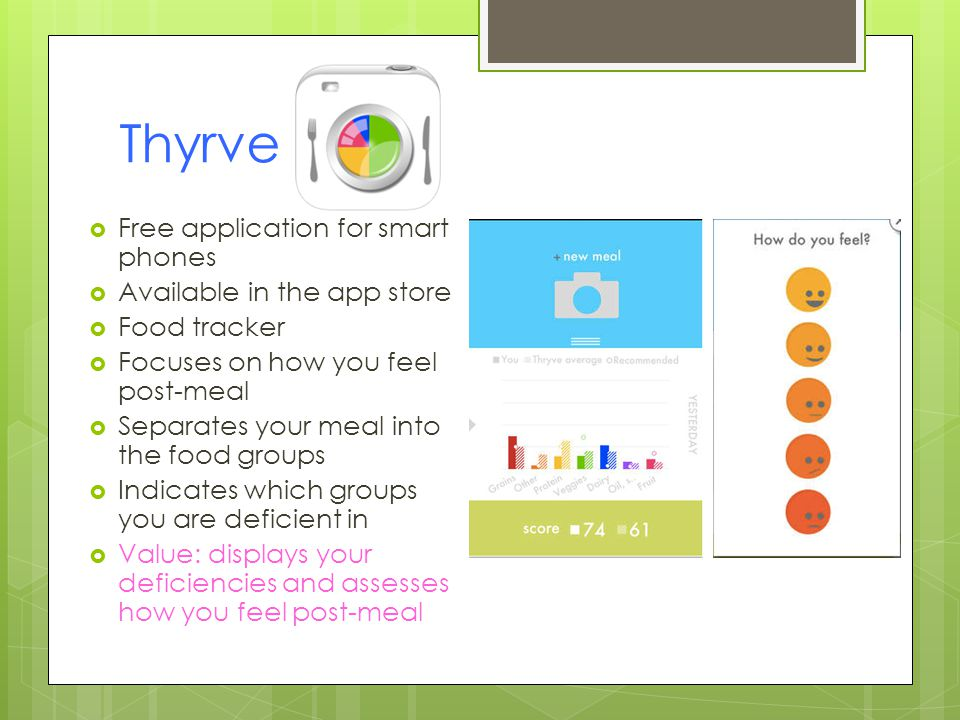 Thyrve Free application for smart phones Available in the app store Food tracker Focuses on how you feel post-meal Separates your meal into the food groups Indicates which groups you are deficient in Value: displays your deficiencies and assesses how you feel post-meal