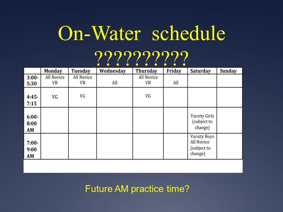 On-Water schedule ?????????? Future AM practice time?